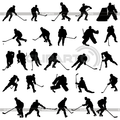 Hockey silhouettes set | Stock Vector Graphics |ID 3157347