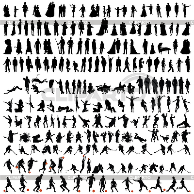 Bigest collection of people silhouettes | Stock Vector Graphics |ID 3177027