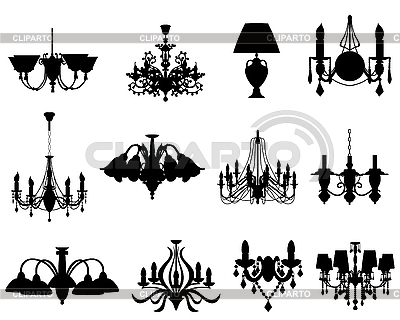 Set of lamps silhouettes | Stock Vector Graphics |ID 3193134