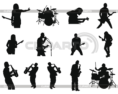 Set of rock and jazz silhouettes | Stock Vector Graphics |ID 3194576