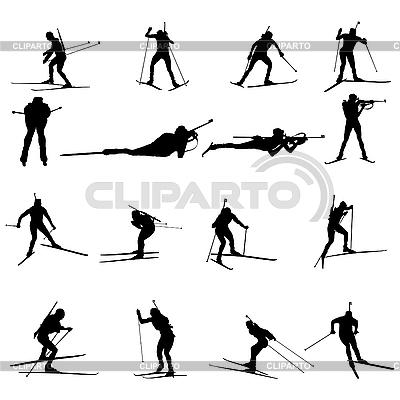 Biathlon silhouette set | Stock Vector Graphics |ID 3195071