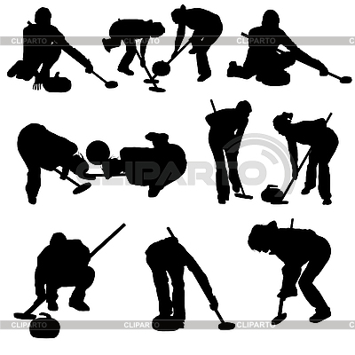 Curling silhouette set | Stock Vector Graphics |ID 3195492