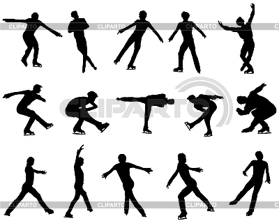 Mans figure skating silhouette set | Stock Vector Graphics |ID 3195845
