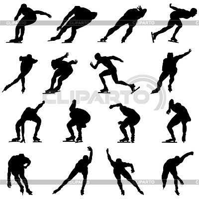 Skating man silhouette set | Stock Vector Graphics |ID 3210897