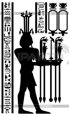 Egipskie hieroglify i fresk | Klipart wektorowy |ID 3213260