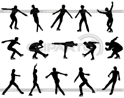 Mans figure skating silhouette set   Stock Vector Graphics  ID 3224357