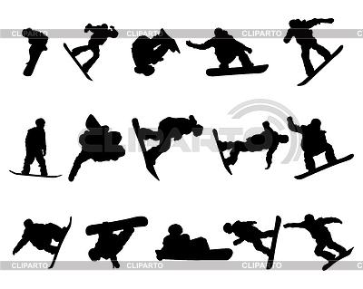 Snowboarde man silhouette set | Stock Vector Graphics |ID 3225179