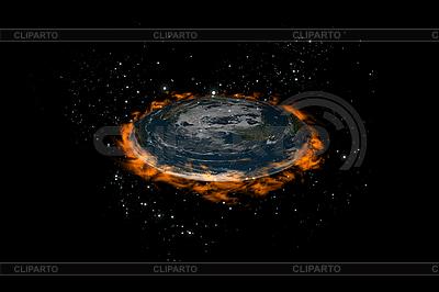扁平地球行星恒星内部和火灾 | 高分辨率插图 |ID 3083009