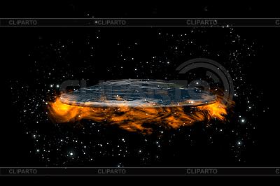 Flat Earth planety wewnątrz gwiazd i ognia | Stockowa ilustracja wysokiej rozdzielczości |ID 3083010