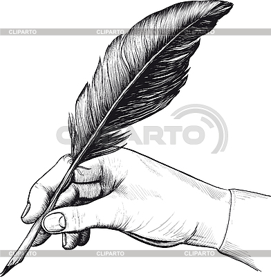 Drawing of hand with feather pen | Stock Vector Graphics |ID 3083088