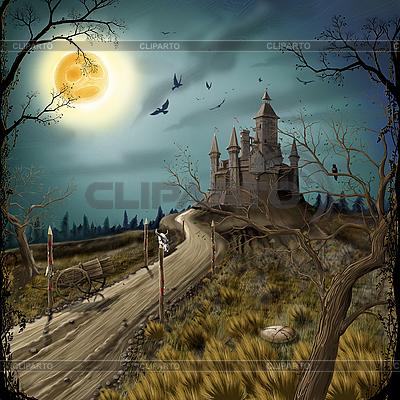 Nacht, Mond und dunkle Festung | Illustration mit hoher Auflösung |ID 3111999