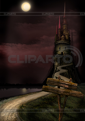Old Castle and Moon   High resolution stock illustration  ID 3112001