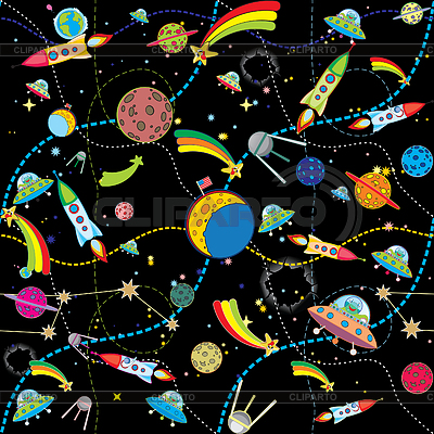 Black space background with rockets and planets | Stock Vector Graphics |ID 3305115