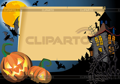 Halloween Card with scroll frame   Stock Vector Graphics  ID 3305181