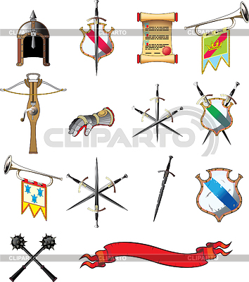 Medieval weapon icons set | Stock Vector Graphics |ID 3305238