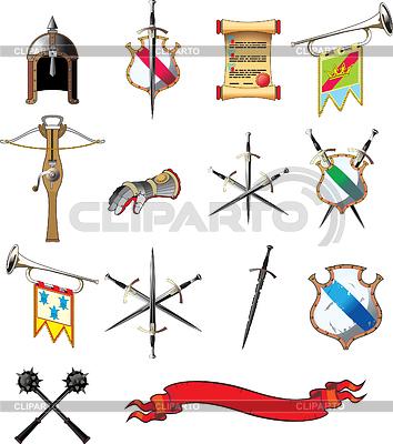 Średniowieczne broń zestaw ikon | Klipart wektorowy |ID 3305238