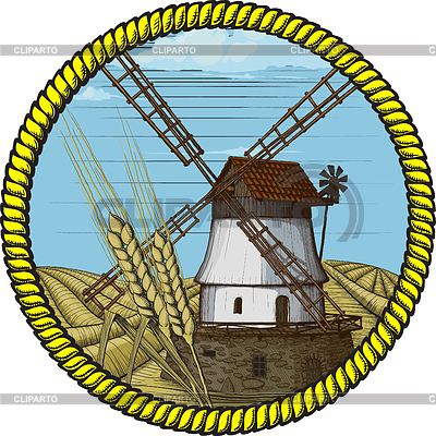 Label with windmill | Stock Vector Graphics |ID 3305240
