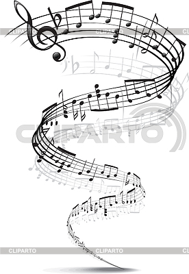 Music notes twisted into spiral | Stock Vector Graphics |ID 3305251