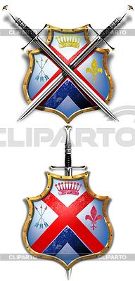 Antiker Schild und zwei gekreuzten Schwertern | Illustration mit hoher Auflösung |ID 3305313