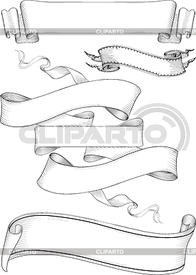 Ribbon banners engravin style | Stock Vector Graphics |ID 3329275