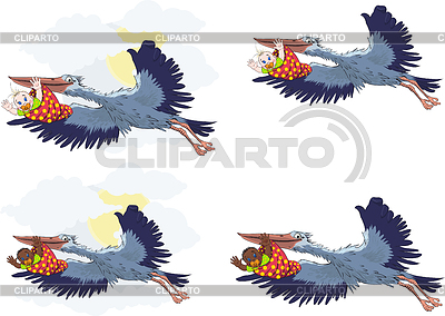 Stork with baby | Stock Vector Graphics |ID 3329281