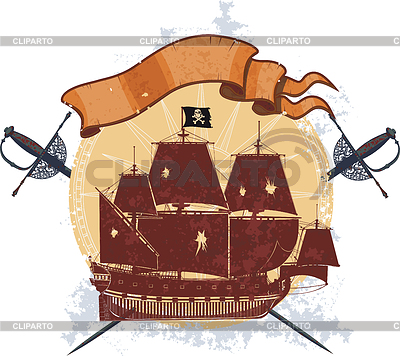 Pirate ship and badge with sabers | Stock Vector Graphics |ID 3362250