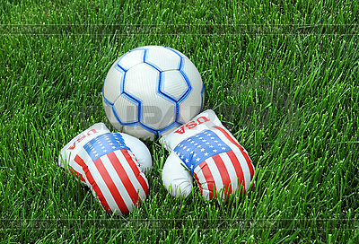 Boxing Gloves and Soccer Ball on Green Lawn | High resolution stock photo |ID 3106086