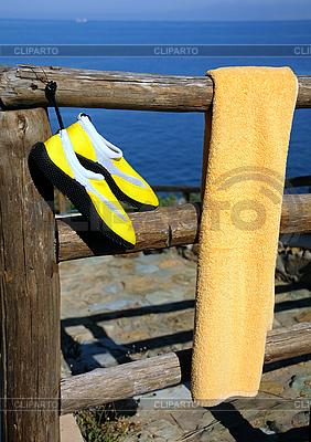 Towel and Beach Shoes on Wooden Fence   High resolution stock photo  ID 3106124
