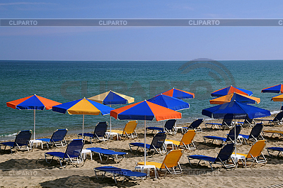 Bright Umbrellas on the Beach   High resolution stock photo  ID 3106309
