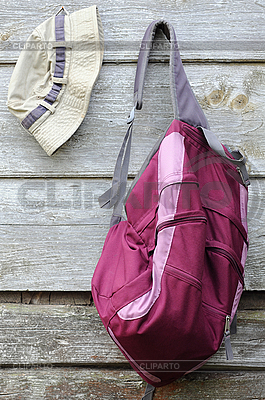 Khaki Hat and Purple Backpack | High resolution stock photo |ID 3107613
