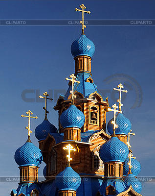 Wooden Orthodox Church with Blue Domes | High resolution stock photo |ID 3115795