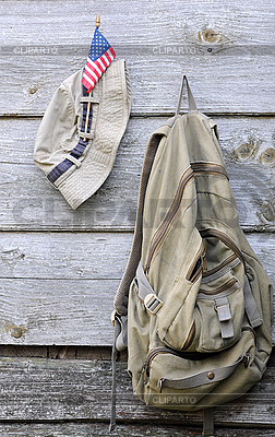 Khaki Hat, Backpack and US Flag | High resolution stock photo |ID 3116029