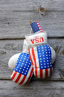 Boxing Gloves and Tiny US Flag | High resolution stock photo |ID 3117555