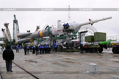 Statek kosmiczny Sojuz na Launch Pad | Foto stockowe wysokiej rozdzielczości |ID 3117578