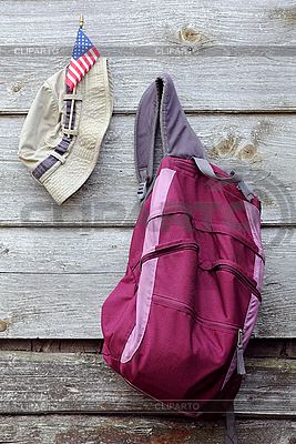 Khaki Hat, US flag and Magenta Backpack | High resolution stock photo |ID 3118392