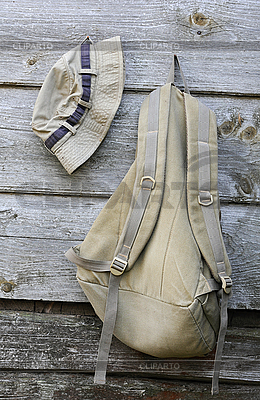 Khaki Hat and Backpack on the Wooden Wall | High resolution stock photo |ID 3119175
