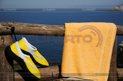 Yellow Beach Shoes and Towel   High resolution stock photo  ID 3324772