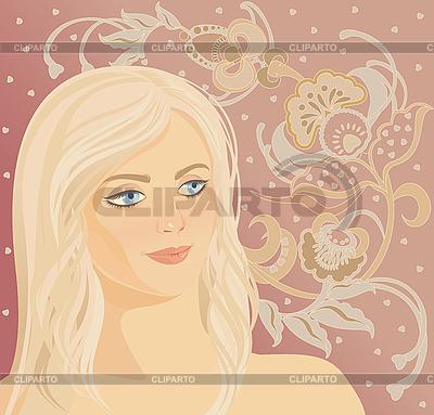 Twarz kobiety na kwiatowym | Klipart wektorowy |ID 3094387