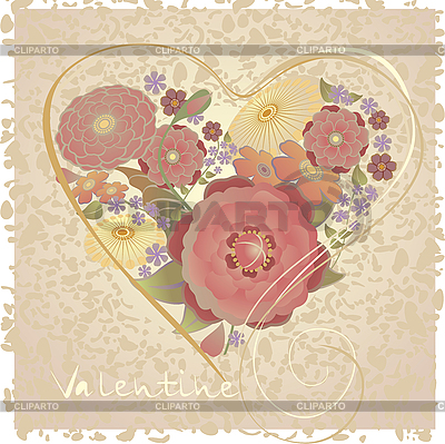 Valentines card with heart of flowers | Stock Vector Graphics |ID 3124217