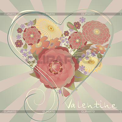 Valentines card with heart of flowers | Stock Vector Graphics |ID 3124220