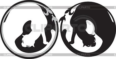 黑色和白色的猫 | 向量插图 |ID 3265166