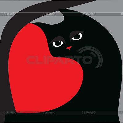검은 고양이와 붉은 마음 | 벡터 클립 아트 |ID 3280573