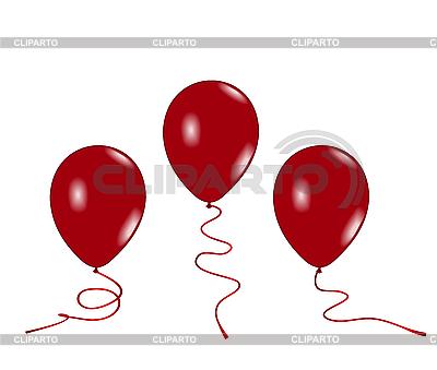 Trzy czerwone balony powietrza | Klipart wektorowy |ID 3084019
