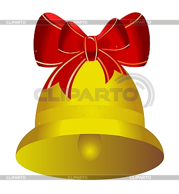 Golden christmas bell with red bow | Stock Vector Graphics |ID 3084053