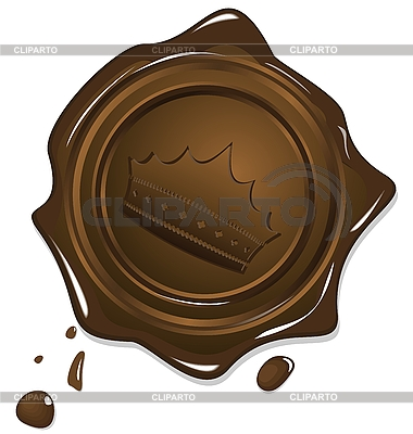 Wax grunge golden seal with crown | Stock Vector Graphics |ID 3084174