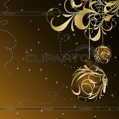 Christmas card with gold balls | Stock Vector Graphics |ID 3085013