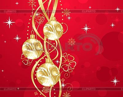 Red christmas background z kulkami   Klipart wektorowy  ID 3085045