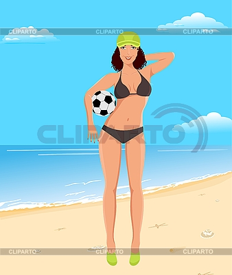 Aktiven Mädchen mit Ball am Strand | Stock Vektorgrafik |ID 3085539