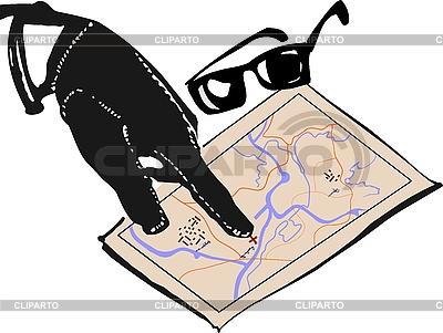 Hand of mafia and map | 向量插图 |ID 3086200