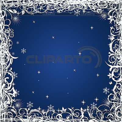 Blue floral Christmas frame | Stock Vector Graphics |ID 3086997